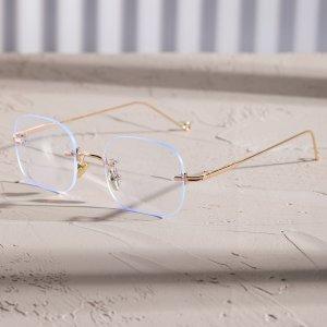 Мужские квадратные очки без оправы SHEIN. Цвет: золотистый