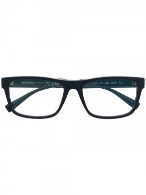 Очки в квадратной оправе Versace Eyewear. Цвет: синий