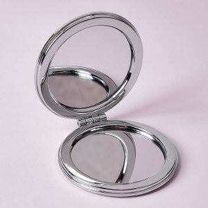 Круглое зеркало для макияжа с узором маргаритки SHEIN. Цвет: розовые