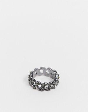 Серебристое кольцо в виде цепочки страз -Серебристый ASOS DESIGN