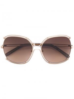 Объемные солнцезащитные очки Mandy Chloé Eyewear. Цвет: металлический