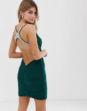 Платье мини с отделкой -Зеленый Jovani