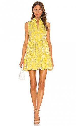 Мини платье saffron Amanda Uprichard. Цвет: лимонный