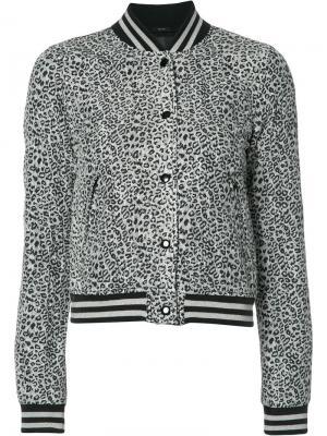 Куртка-бомбер с леопардовым принтом R13. Цвет: серый