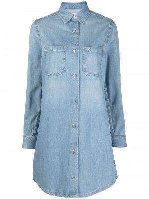 Джинсовое платье-рубашка свободного кроя Calvin Klein Jeans. Цвет: синий