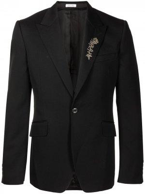 Пиджак с брошью Alexander McQueen. Цвет: черный