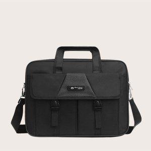 Мужской минималистичный портфель с пряжкой SHEIN. Цвет: чёрный