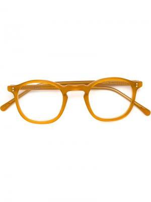 Очки с круглой оправой Lesca. Цвет: жёлтый и оранжевый