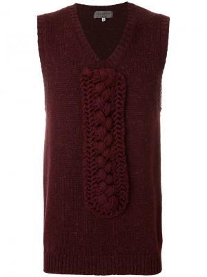 Вязаная жилетка с плетенными вставками Yohji Yamamoto Vintage. Цвет: красный