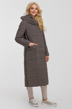 Длинное модное пальто с капюшоном Албана. Цвет: серый