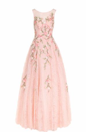 Кружевное платье-макси с цветочной вышивкой Basix Black Label. Цвет: светло-розовый