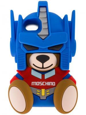Чехол для iPhone 7 в виде медведя-трансформера Moschino. Цвет: синий