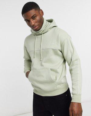 Худи зеленого цвета со снудом и вышитым логотипом «NLM» -Зеленый цвет New Look