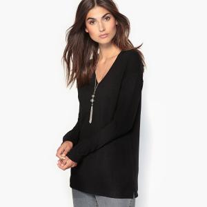 Пуловер-туника, 10% шерсти ANNE WEYBURN. Цвет: brique foncé,серо-бежевый