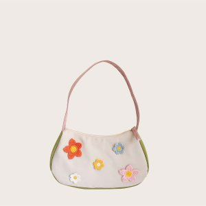 Большая сумка с цветочным декором SHEIN. Цвет: белый