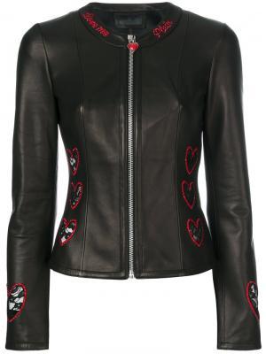 Байкерская куртка с вышитым сердцем Philipp Plein. Цвет: чёрный