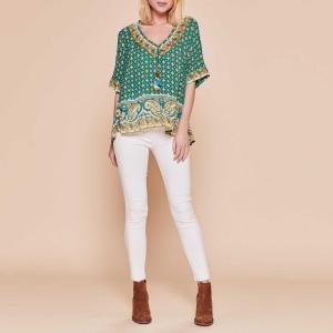 Блузка с V-образным вырезом, завязками помпоном и короткими рукавами Rarissime DERHY. Цвет: зеленый/рисунок