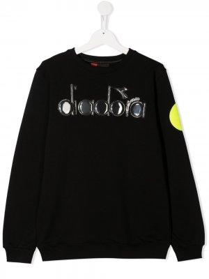 Толстовка с тисненным логотипом Diadora Junior. Цвет: черный