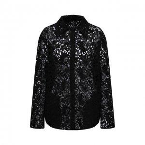 Хлопковая рубашка Valentino. Цвет: чёрный