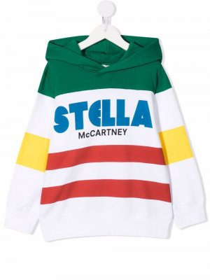 Худи в стиле колор-блок Stella McCartney Kids. Цвет: белый