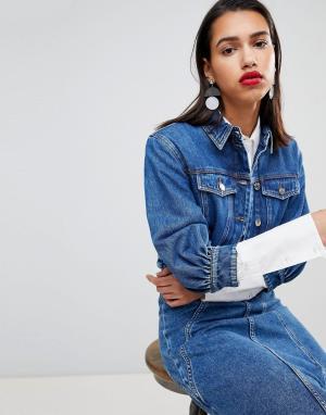 Укороченная джинсовая куртка от комплекта Sportmax Code. Цвет: темно-синий