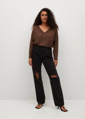 Пуловер из органического хлопка - Softy-i Mango. Цвет: коричневый