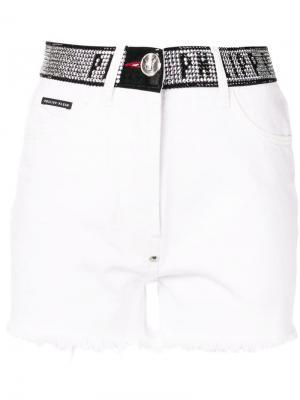 Джинсовые шорты с заклепками Philipp Plein. Цвет: белый