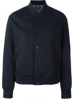 Университетская куртка-бомбер A.P.C.. Цвет: синий