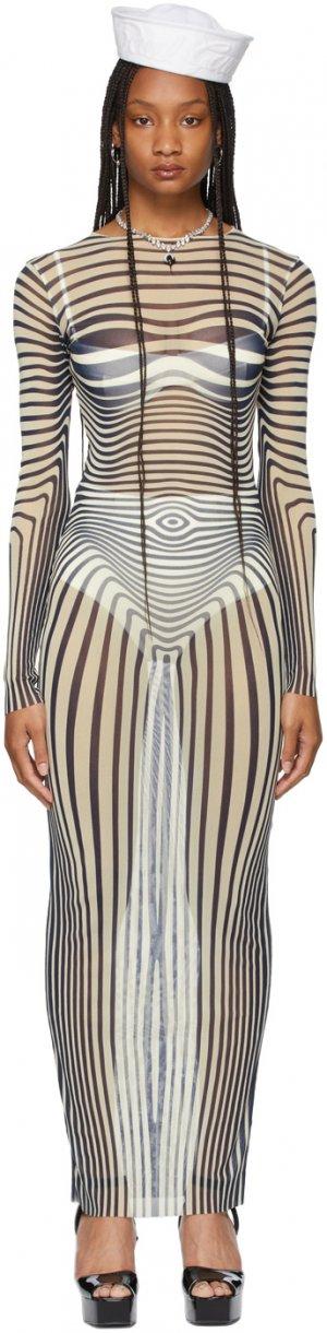 SSENSE Exclusive Beige Les Marins Mesh Body Stripe Dress Jean Paul Gaultier. Цвет: 0359-ecru/midnight b