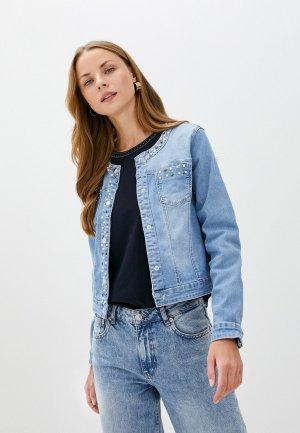 Куртка джинсовая Micha Edna. Цвет: голубой