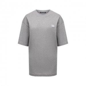 Хлопковая футболка Acne Studios. Цвет: серый