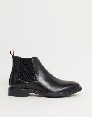 Черные кожаные ботинки челси -Серый Base London