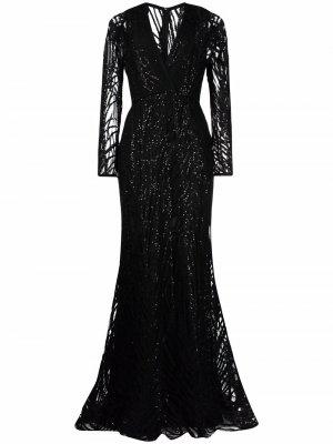 Вечернее платье с вышивкой Elie Saab. Цвет: черный