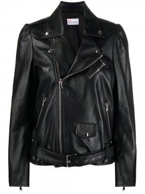 Байкерская куртка RED Valentino. Цвет: черный