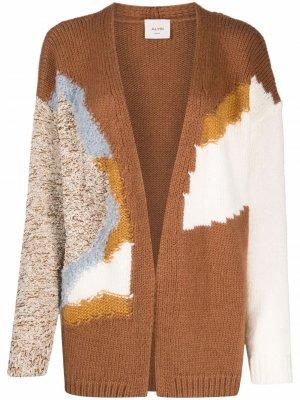 Кардиган вязки интарсия с абстрактным узором Alysi. Цвет: коричневый