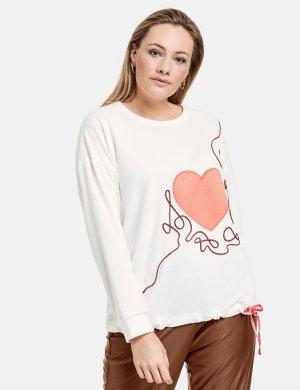 Толстовка с атласным сердечком SAMOON Gerry Weber. Цвет: offwhite patterned
