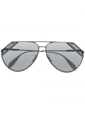Солнцезащитные очки-авиаторы Alexander McQueen. Цвет: черный
