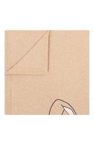 Кашемировое одеяло с меховой отделкой Fendi. Цвет: бежевый