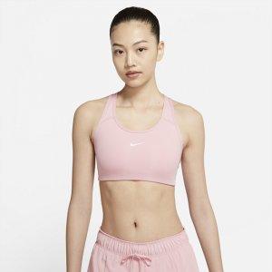 Спортивное бра с цельным вкладышем и средней поддержкой Swoosh - Розовый Nike