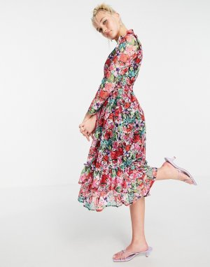Приталенное платье миди с длинным рукавом, оборками и принтом роз -Многоцветный Little Mistress