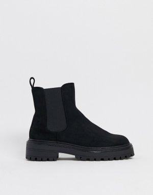 Черные ботинки челси на массивной подошве -Черный ASOS DESIGN