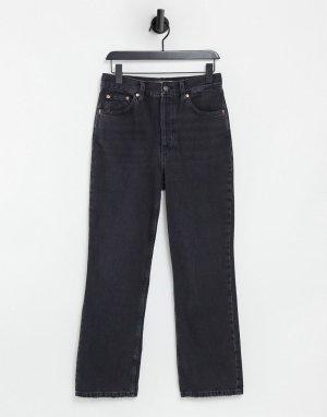 Черные выбеленные джинсы с широкими прямыми штанинами Kort-Черный цвет Topshop