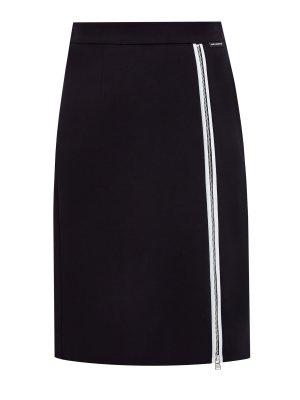 Юбка в стиле спортшик из ткани кади с сетчатой подкладкой KARL LAGERFELD. Цвет: черный