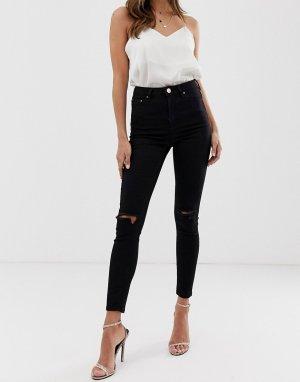 Черные джинсы скинни с завышенной талией и рваной отделкой на коленях ASOS DESIGN