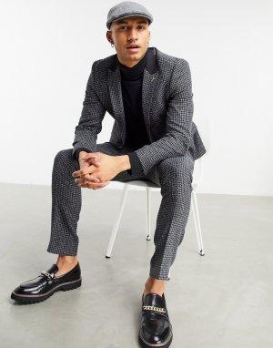 Приталенный пиджак угольно-серого цвета с контрастным лацканом и узором «гусиная лапка» -Серый Shelby & Sons