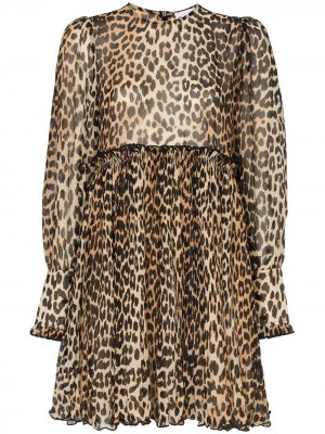 Платье мини с леопардовым принтом Ganni
