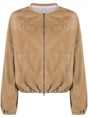 Куртка-бомбер со сборками и воротником-стойкой Fabiana Filippi. Цвет: нейтральные цвета
