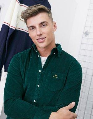 Зеленая вельветовая рубашка классического кроя в шотландскую клетку на пуговицах с логотипом -Зеленый цвет Gant