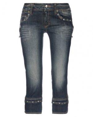 Джинсовые брюки-капри JUST CAVALLI. Цвет: синий