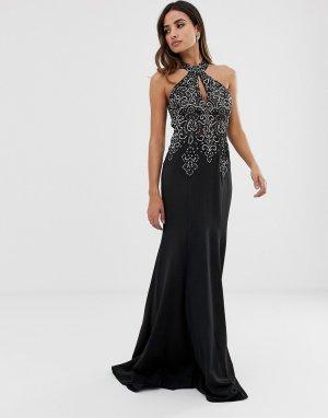Платье макси с халтером и отделкой -Черный Jovani